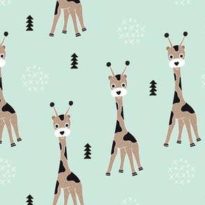 Adorable little baby giraffe cute kids zoo jungle animals illustration geometric scandinavian style print in mint