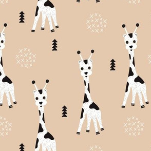 Adorable little baby giraffe cute kids zoo jungle animals illustration geometric scandinavian style print in gender neutral white and beige