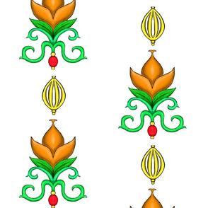 Flower Damask 2- Orange