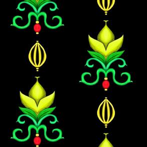 Flower Damask 1- Yellow