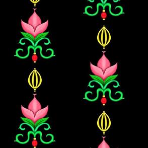 Flower Damask 1- Black