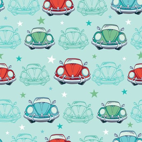 Colorful Vintage Cars Seamless Pattern. Funny Headlights. Auto Repair