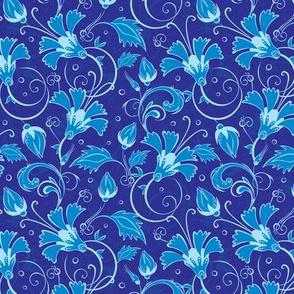 Dark blue turkish floral seamless pattern