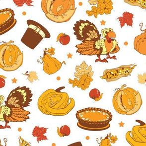 Vector Cornucopia Thanksgiving Pumpkin Turkey Corn Seamless Pattern