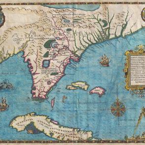 1591 Map of Florida and Cuba
