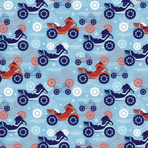 Vector Motorcycles Blue Red Seamless Pattern. Fast Risky Speed. Motorbike Bike, Loud