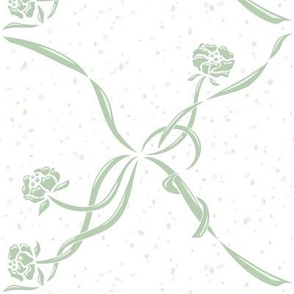 Vintage flowers with ribbons_green