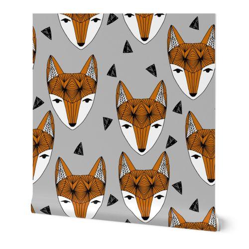 Fox Head Fabric Geometric Fox Head Fabr Spoonflower