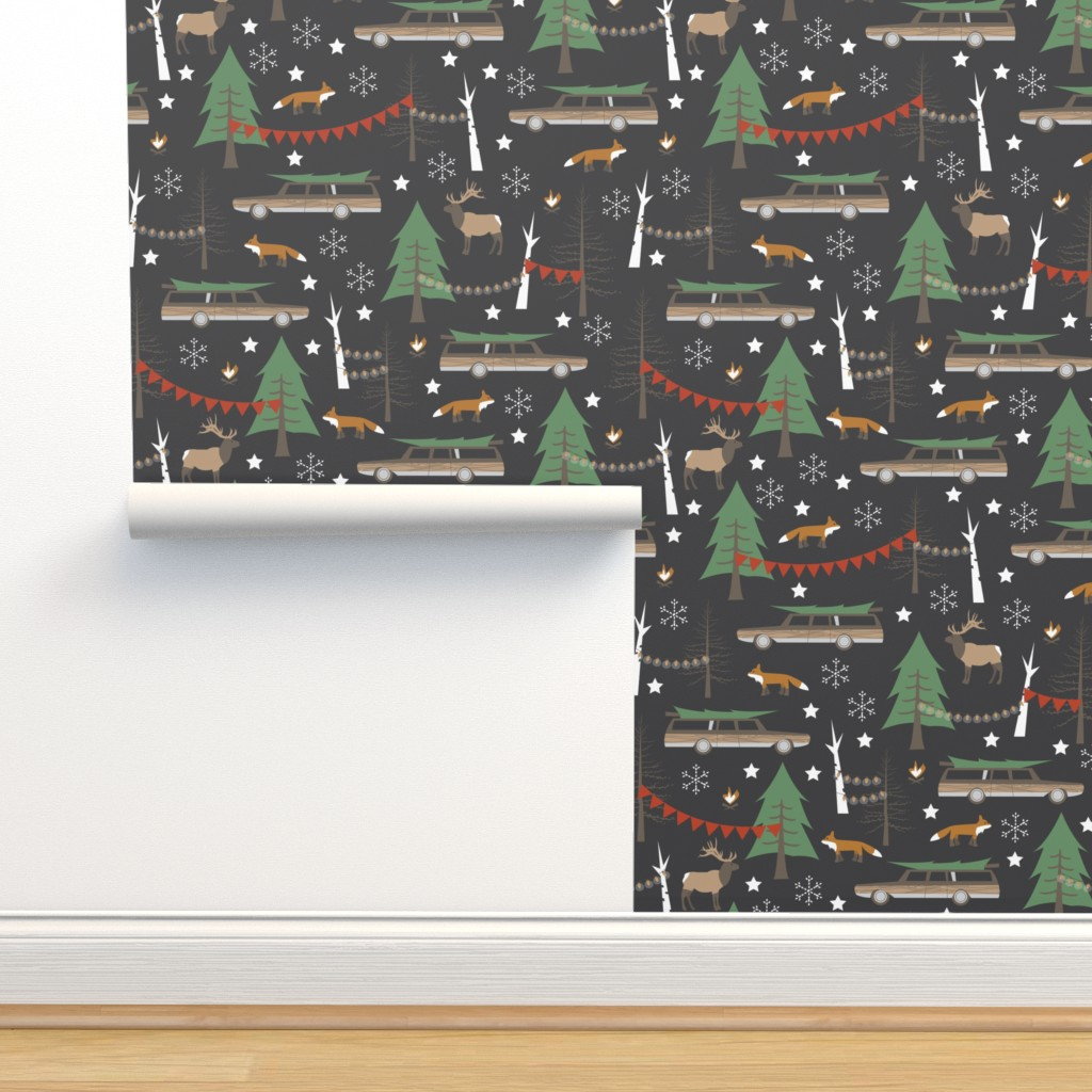 Isobar Durable Wallpaper featuring Station Wagon Christmas - Large Scale by papercanoefabricshop