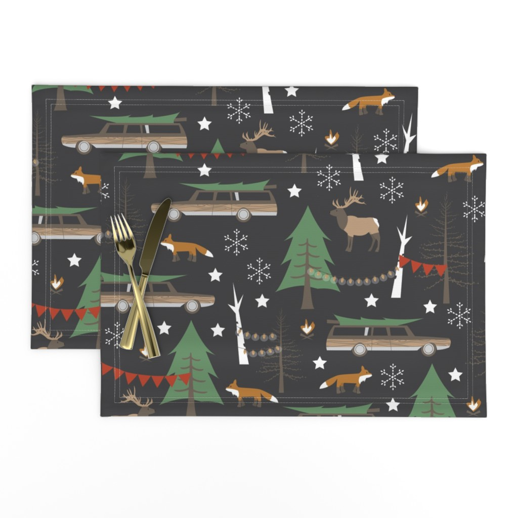 Lamona Cloth Placemats featuring Station Wagon Christmas - Large Scale by papercanoefabricshop
