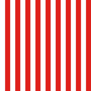 Stripes - Vertical - 1 inch (2.54cm) - Red (#E0201B) & White (#FFFFFF)