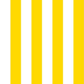 Stripes - Vertical - 1 inch (2.54cm) - Yellow (#FFD900) & White (#FFFFFF)