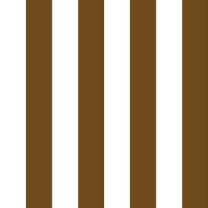 Stripes - Vertical - 1 inch (2.54cm) -  Dark Brown (#6E4A1C) & White (#FFFFFF)