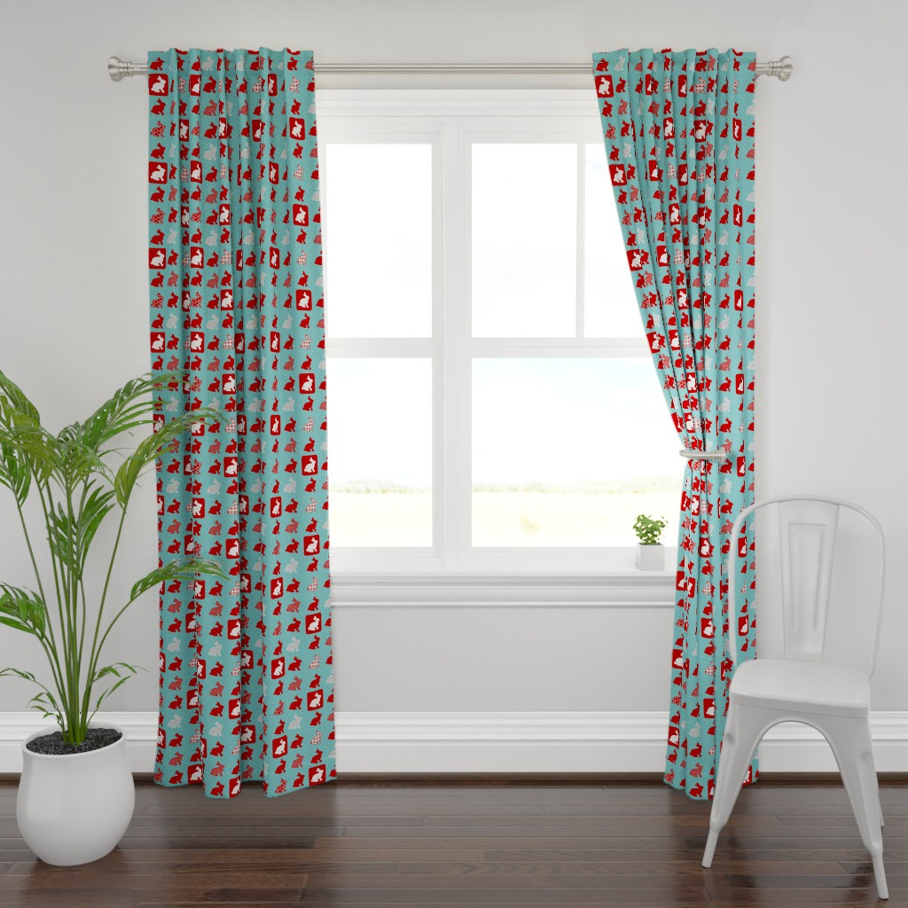 Plymouth Curtain Panel featuring Retro Rabbits by mandyd