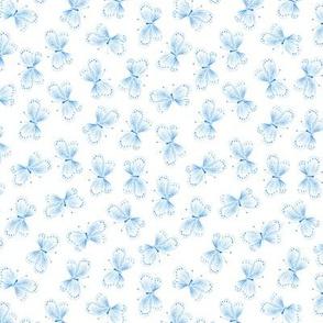 Blue Butterflies on White
