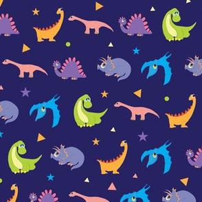 Colorful dinosaurs Dark Blue. Stegosaurus, Tyrannosaurus, Diplodocus, Pterodactyl