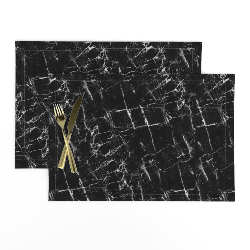 Lamona Cloth Placemats featuring Black Marble by kimsa