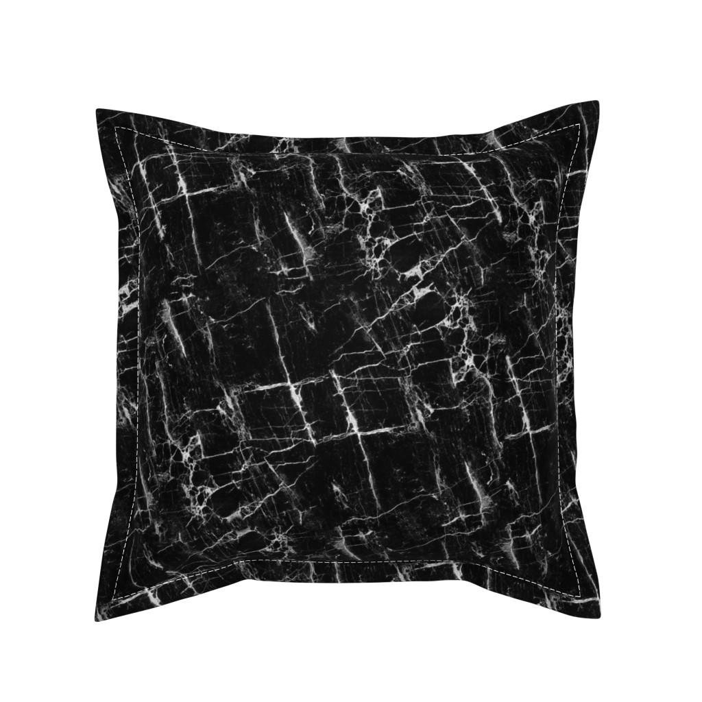 Serama Throw Pillow featuring Black Marble by kimsa