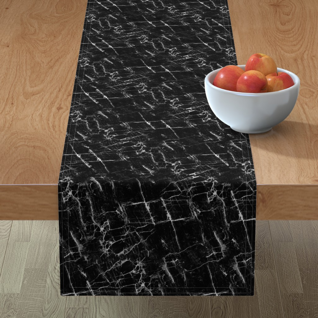 Minorca Table Runner featuring Black Marble by kimsa