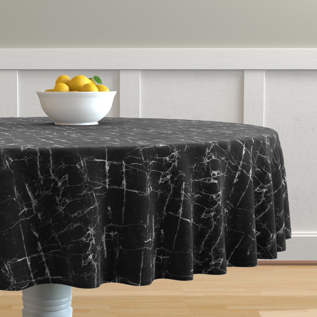 Malay Round Tablecloth featuring Black Marble by kimsa
