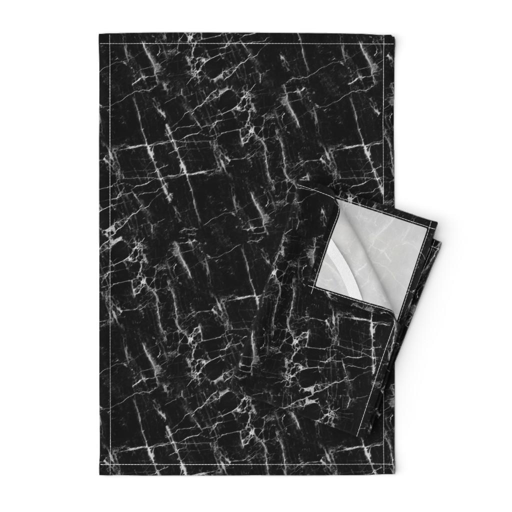 Orpington Tea Towels featuring Black Marble by kimsa