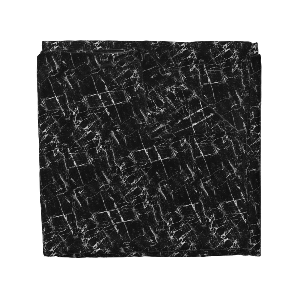 Wyandotte Duvet Cover featuring Black Marble by kimsa