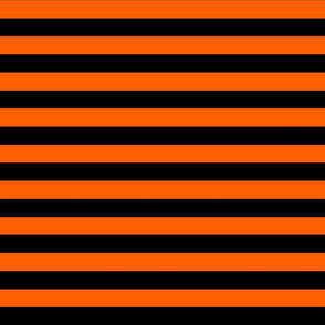 Stripes - Horizontal - 1 inch (2.54cm) - Orange  (#FF5F00) & Black (#000000)