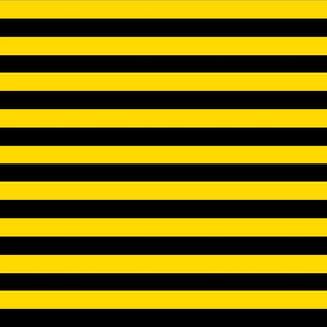 Stripes - Horizontal - 1 inch (2.54cm) - Yellow  (#FFD900) & Black (#000000)