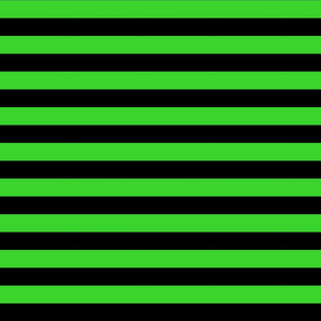 Stripes - Horizontal - 1 inch (2.54cm) - Light Green  (#3Ad42d) & Black (#000000)