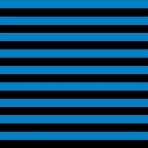 Stripes - Horizontal - 1 inch (2.54cm) - Light Blue  (#0081C8) & Black (#000000)