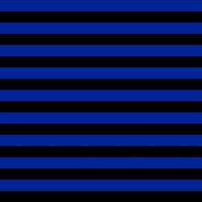 Stripes - Horizontal - 1 inch (2.54cm) - Dark Blue  (#002398) & Black (#000000)
