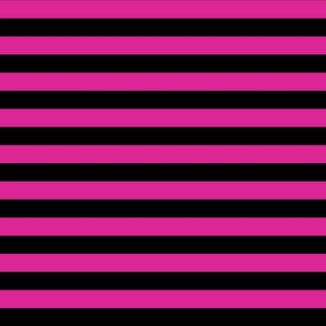 Stripes - Horizontal - 1 inch (2.54cm) - Medium Pink (#DD2695) & Black (#000000)