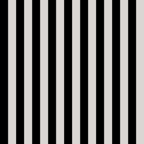 Stripes - Vertical - 1 inch (2.54cm) - Light Grey (#D9D6D4) & Black (#000000)