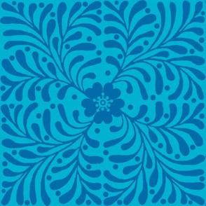 Blue floral geometric tile // Embrace-blue