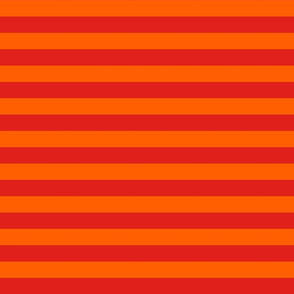 Stripes - Horizontal - 1 inch (2.54cm) - Red (#E0201B) and Orange (#FF5F00)