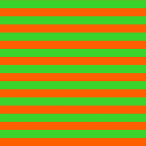 Stripes - Horizontal - 1 inch (2.54cm) - Orange (FF5F00) & Green (3AD42D)