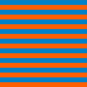Stripes - Horizontal - 1 inch (2.54cm) - Orange (FF5F00) & Blue (0081C8)