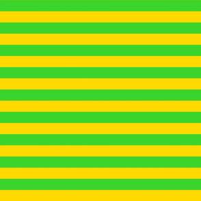 Stripes - Horizontal - 1 inch (2.54cm) - Yellow (FFD900) & Green (3AD42D)