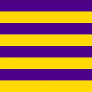 Stripes - Horizontal - 1 inch (2.54cm) - Yellow (FFD900) & Purple (4D008A)