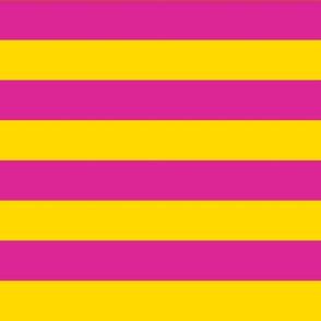 Stripes - Horizontal - 1 inch (2.54cm) -  Yellow (FFD900) & Pink (DD2695)