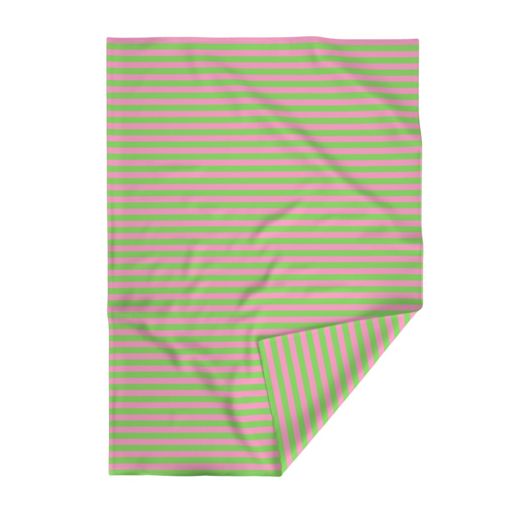 Lakenvelder Throw Blanket featuring Stripes - Horizontal - 1 inch (2.54cm) - Pale Green (89DA65) and Light Pink (FBA0C6) by elsielevelsup