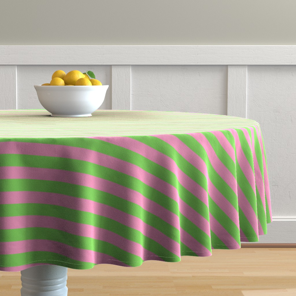 Malay Round Tablecloth featuring Stripes - Horizontal - 1 inch (2.54cm) - Pale Green (89DA65) and Light Pink (FBA0C6) by elsielevelsup