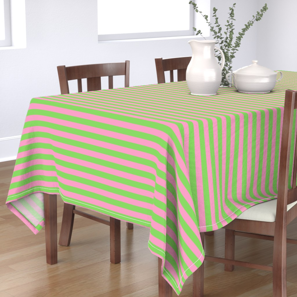 Bantam Rectangular Tablecloth featuring Stripes - Horizontal - 1 inch (2.54cm) - Pale Green (89DA65) and Light Pink (FBA0C6) by elsielevelsup