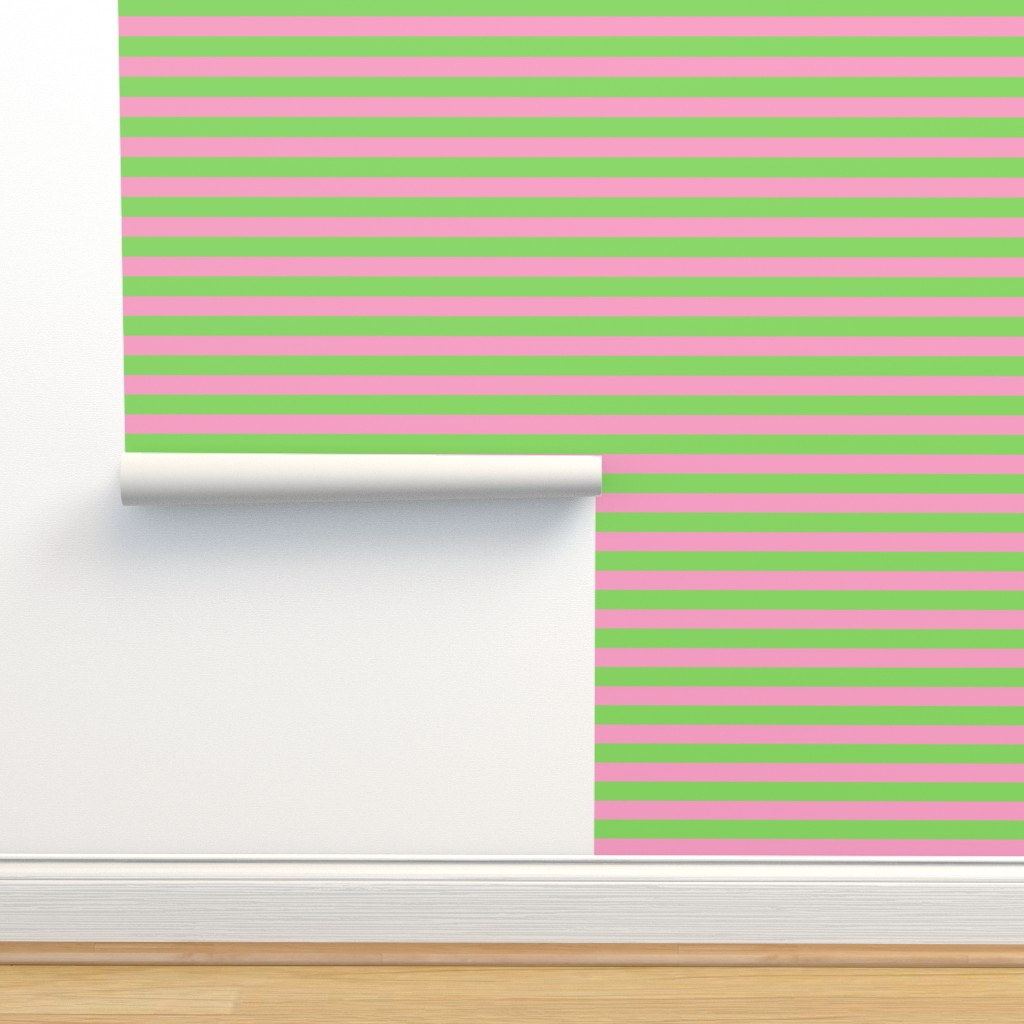 Isobar Durable Wallpaper featuring Stripes - Horizontal - 1 inch (2.54cm) - Pale Green (89DA65) and Light Pink (FBA0C6) by elsielevelsup
