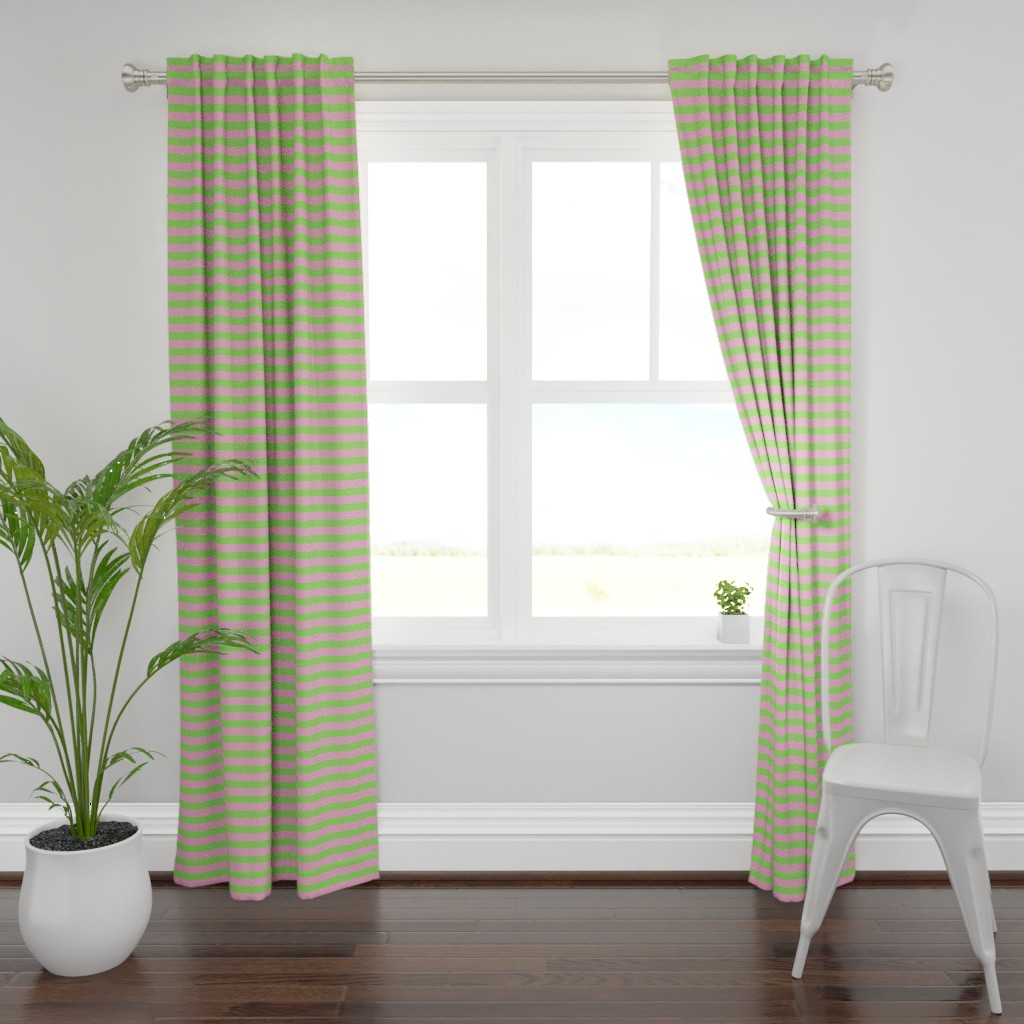 Plymouth Curtain Panel featuring Stripes - Horizontal - 1 inch (2.54cm) - Pale Green (89DA65) and Light Pink (FBA0C6) by elsielevelsup