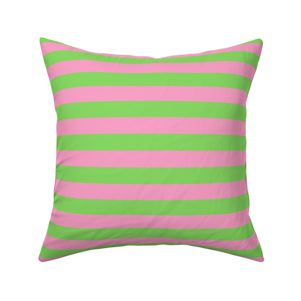 Catalan Throw Pillow featuring Stripes - Horizontal - 1 inch (2.54cm) - Pale Green (89DA65) and Light Pink (FBA0C6) by elsielevelsup