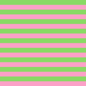 Stripes - Horizontal - 1 inch (2.54cm) - Pale Green (89DA65) and Light Pink (FBA0C6)