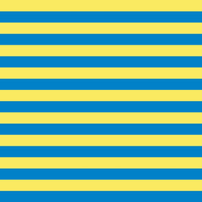 Stripes - Horizontal - 1 inch (2.54cm) - Pale Yellow (F9EA62) and Light Blue (0081C8)