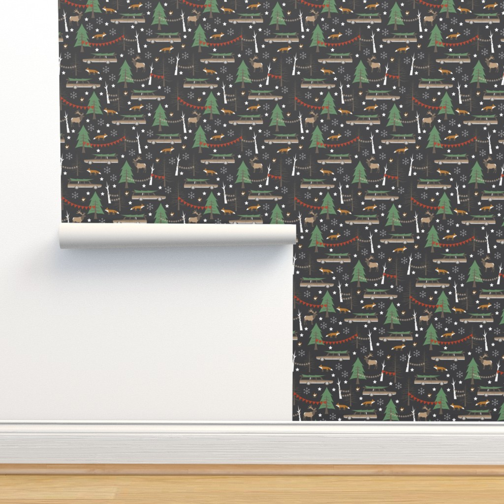 Isobar Durable Wallpaper featuring Station Wagon Christmas - Small Scale by papercanoefabricshop