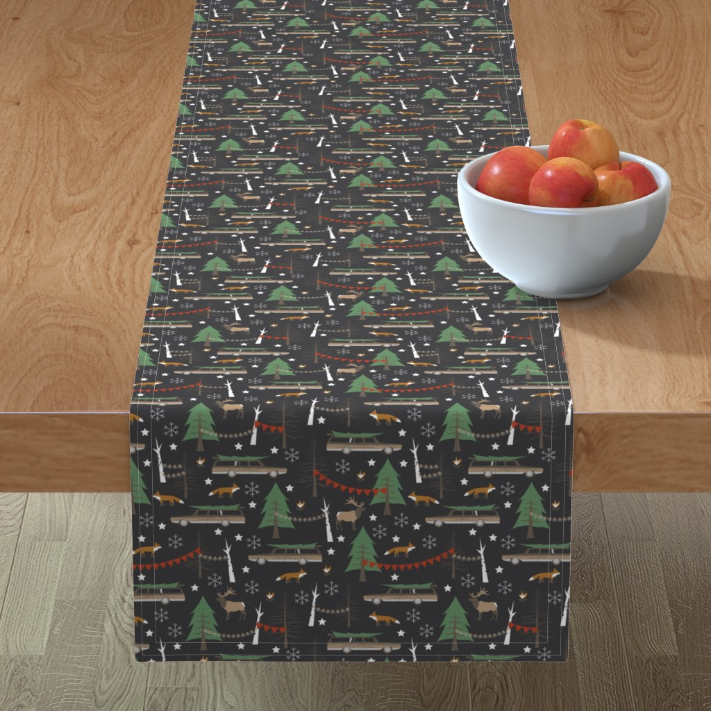 Minorca Table Runner featuring Station Wagon Christmas - Small Scale by papercanoefabricshop